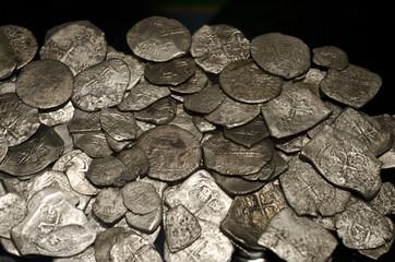 Ancient silver coins, treasure, money