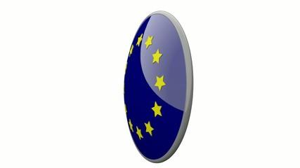Sich drehende Scheibe mit den Flaggen der EU und Luxemburg