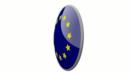 Sich drehende Scheibe mit den Flaggen der EU und Serbien