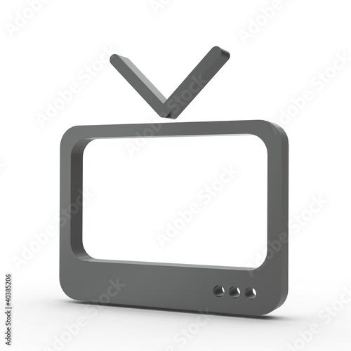 3d Icon Fernseher schwarz