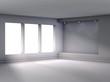 3d empty niche with spotlights for exhibit in the bright interio