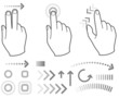 Touch screen gesture hand signs and icons
