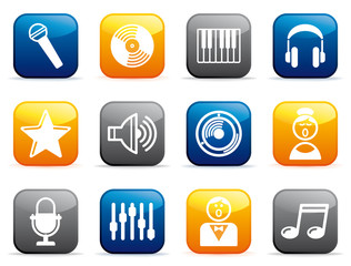 Audio and Music icons on buttons