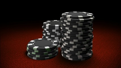 Casino chips black red table