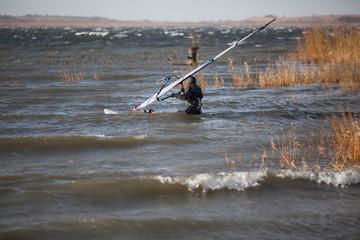 Windsurfer is preparing to start