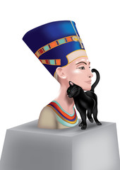 Nefertiti with cat