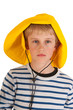 Portrait boy with rain hat
