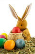 Easter hare with colorful eggs
