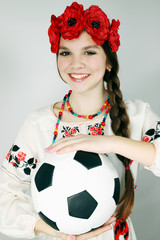 woman holding a ball