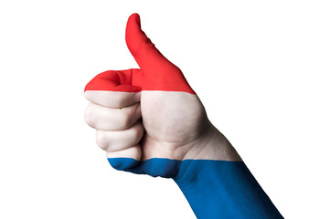 netherlands national flag thumb up gesture for excellence and ac