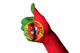 portugal national flag thumb up gesture for excellence and achie