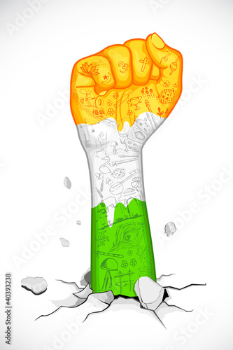 Fist in Indian Tricolor