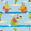 Travel seamless pattern with passenger ships in a retro style
