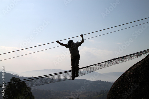 Man silhouette on radical bridge
