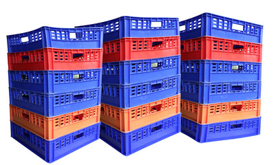 Three stack of plastic crates