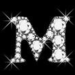 M letter with diamonds bling bling