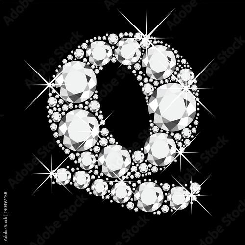 Q letter with diamonds bling bling