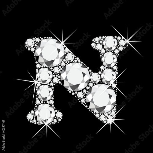 u alphabet in diamond  Vector: N letter with