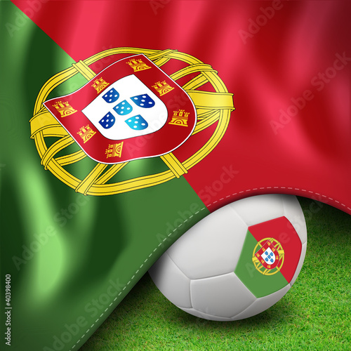 Soccer ball and flag euro portugal