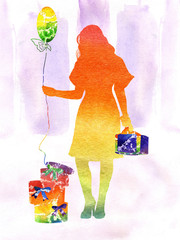 watercolor the iridescent girl with gifts and a sphere