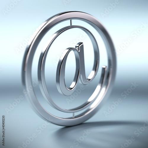 at symbol, arobase, symbole email fond bleu