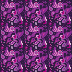 Floral seamless pattern decorative flowers and paisley