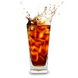 cooled Cola drink with ice cubes over white