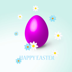 Vector - Happy easter with egg and flowers