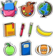 Мультфильм школьные сумки, карандаши, книги, записная книжка