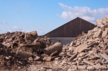 A pile of rubble for an abandoned barn