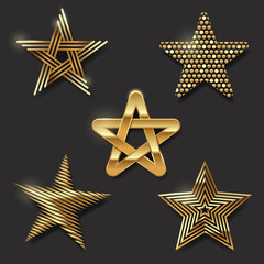 Vector set of golden decorative stars
