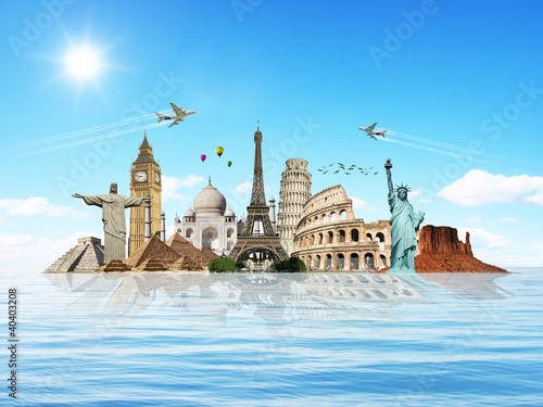 Obraz w ramie Travel the world monuments concept 8