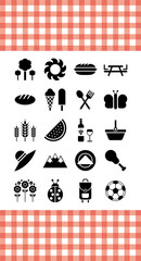 Picnic icons with tablecloth
