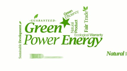 Green energy power bio ecology renewable tag cloud video