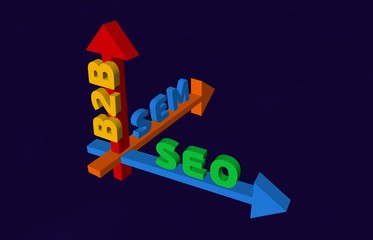 3D Arrow with marketing terms