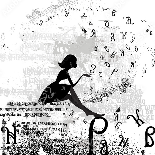 abstract design with a girl grunge text © Aloksa