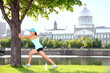 City runner workout woman stretching