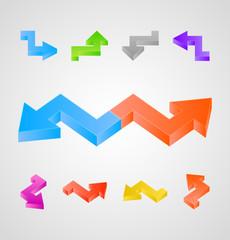 3d arrows vector set