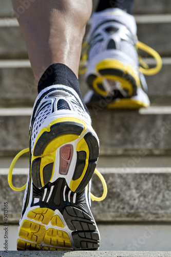 Athlete running stairs