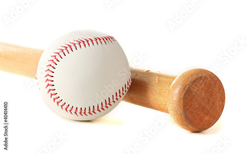 baseball ball and bat isolated on white