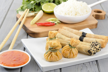 Oriental Snacks - wontons and spring rolls & sweet chilli sauce