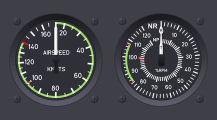 Helicopter airspeed indicators. Vector illustration.
