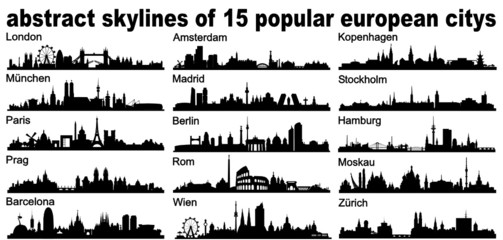 Europe European Skyline Silhouette