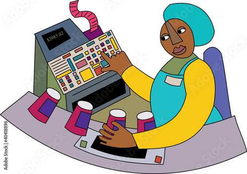 Young black checkout woman