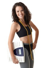 Sporty woman with scale