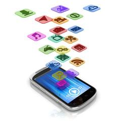 app 3d concept - smart phone application icons