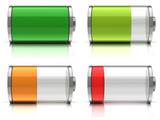 3d Battery icons with different charge levels