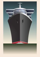 Retro Cruise Ship Vector
