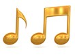 golden music note 3d icons on white background