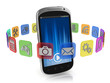 application icons around smart phone 3d concept